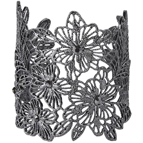 EVER FAITH Black-Tone Crystal Art Deco Hollow-Out Hibiscus Flower Leaf Lace Cuff Bracelet Black