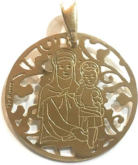 Medalla Virgen Milagrosa en Plata de Ley Cubierta de Oro de 18kt 18mm