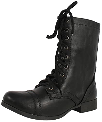 Women's Relax Faux Leather Military Combat Lace Up Boots
