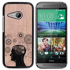 // MECELL CITY PRESENT // Cool Funda Cubierta Madera de cereza Duro PC Teléfono Estuche / Hard Case for HTC ONE MINI 2 / M8 MINI /// Gears Thought Clever Engineer ///