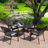 Joveco 4-piece Rattan Wicker Outdoor Backyard Bistro Dining Chair Set – (Set of Four)