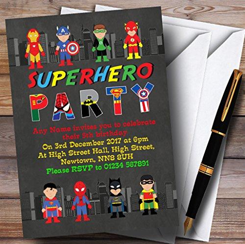 Skyline Superhero Childrens Birthday Party Invitations -