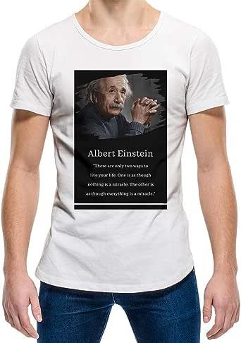 Albert Einstein White Round Neck T-Shirt For Unisex