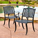 Christopher Knight Home 239070 Marietta Outdoor Cast Aluminum Dining Chairs, 2, Black