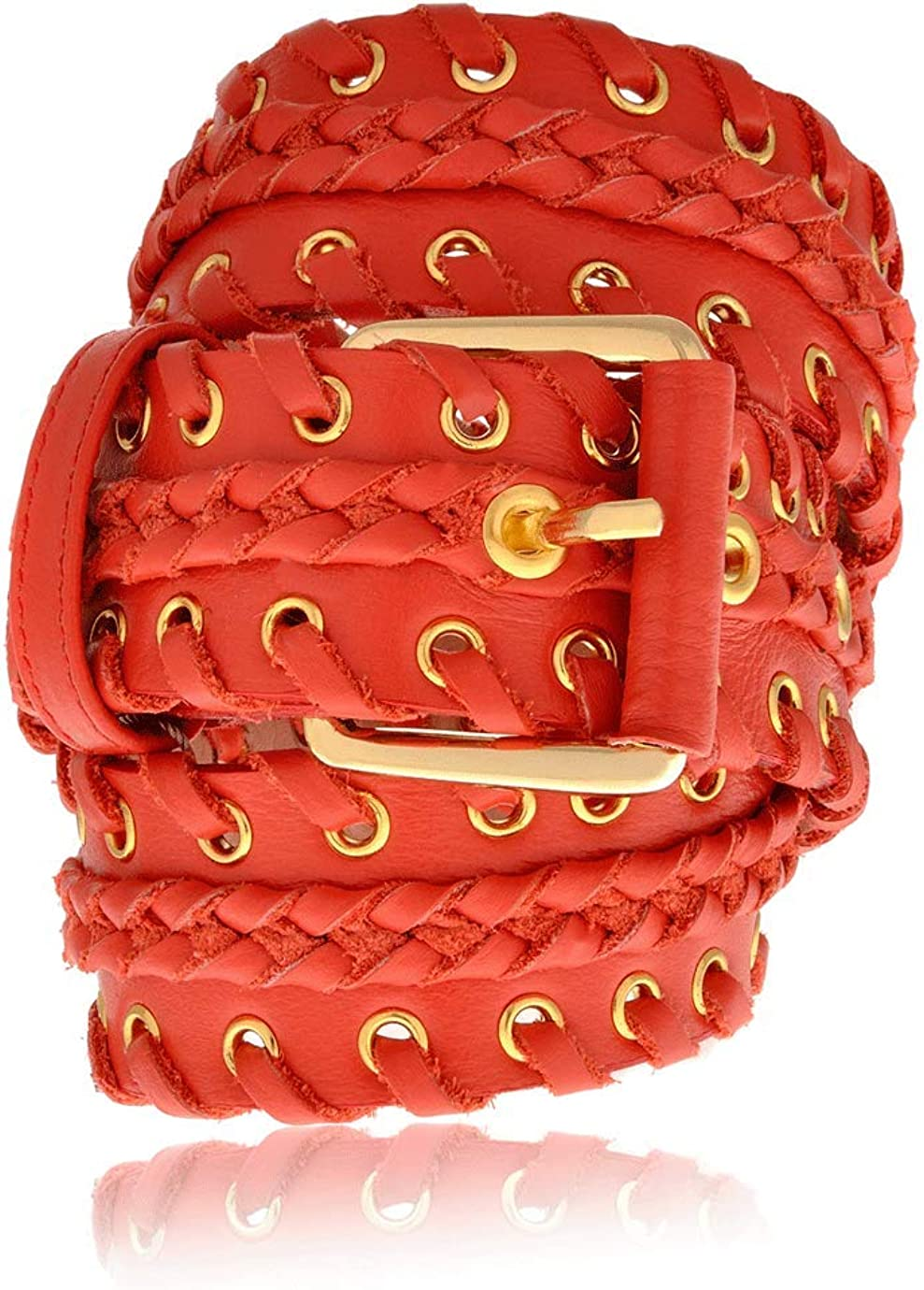CARLOS MIELE BRAIDED Red Leather Belt