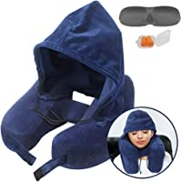 Neck Pillow Inflatable Travel Pillow Comfortably Supports The Head, Neck and Chin, Airplane Pillow with Soft Velour Cover, Hat, Portable Drawstring Bag, 3D Eye Mask and Earplugs (Blue)