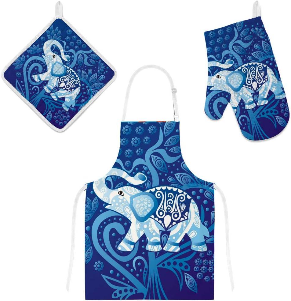 U-Life Apron with Pocket Oven Mitt Pot Holder Set Elephant Mandala Vintage Blue for Women Men Kids