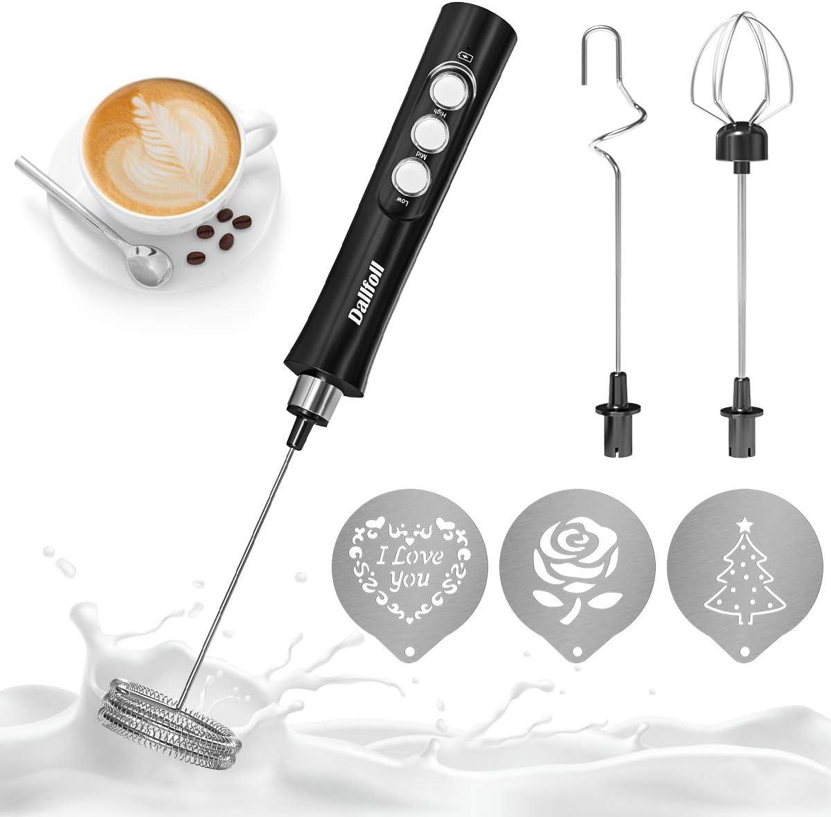 L: 28.5cm plata USB recargable negro huevos con caf/é decorar plantillas el/éctrico para caf/é//caf/é//capuchino espumador de leche 3 en 1 Dallfoll Espumador de leche el/éctrico