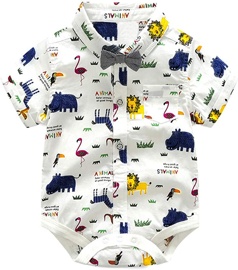 MORCHAN Baby Boys Gentleman Suits Infant Toddler Kids Romper+Strap Shorts Print Overalls Clothes Set Wedding Outfits Party Ceremony Costume