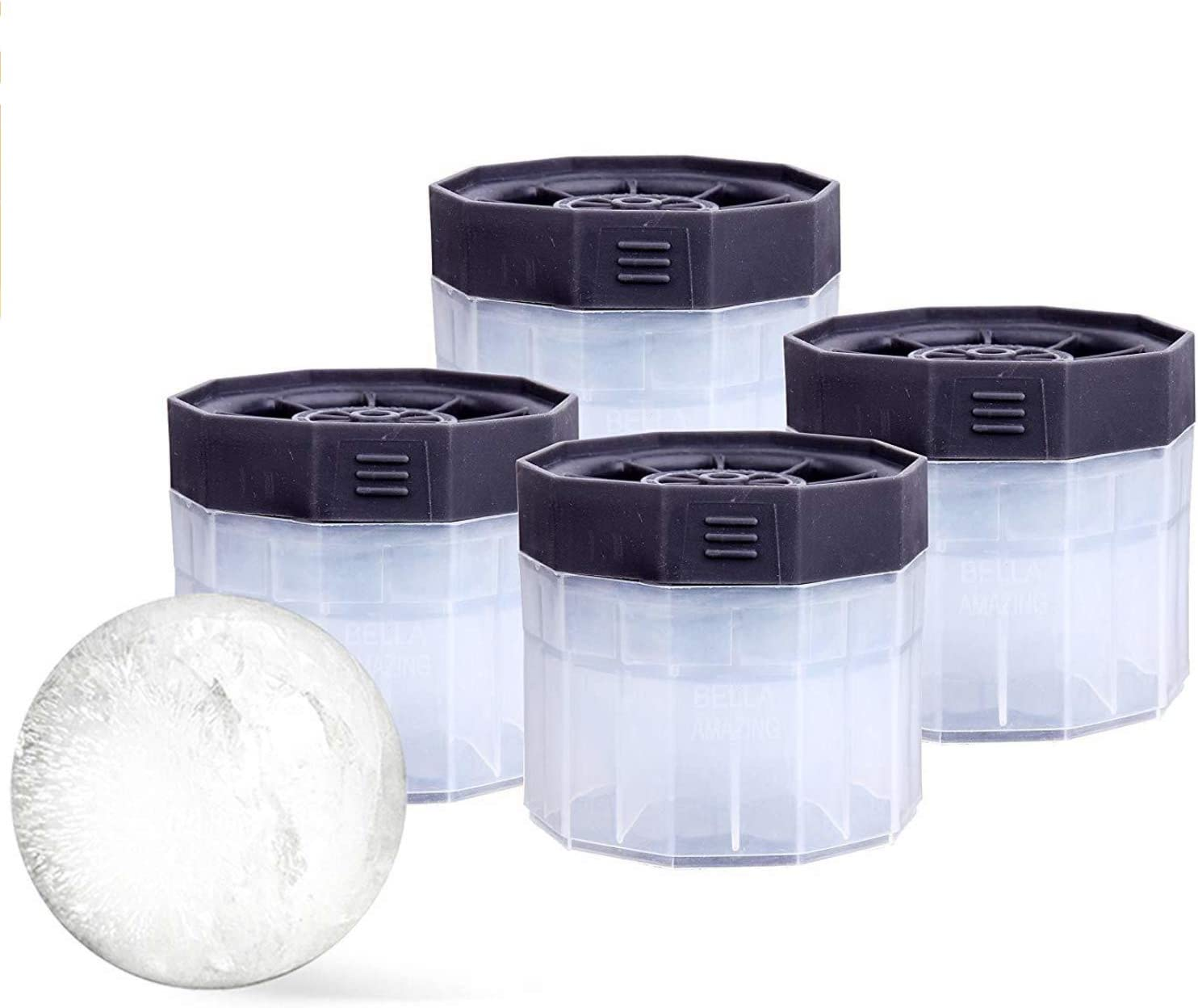 Bella Amazing- Ice Ball Molds, 2.5 Inch Round Ice Cube Molds. This Stackable Slow Melting Ice Sphere Molds are perfect for Whiskey, Scotch, Bourbon, Spirits, or any Drink (4, Black) (4, Clear)