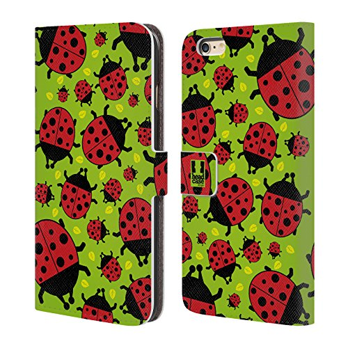 Head Case Designs Green Ladybug Bugged Life Leather Book Wallet Case Cover Compatible for iPhone 6 Plus/iPhone 6s Plus