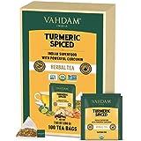 VAHDAM, Organic Turmeric Spiced Herbal Tea (100 Tea Bags)   USDA Certified Organic   Turmeric Powder & Fresh Spices   Turmeri