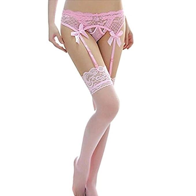 cb56d042c Angelia Daugh Women Sexy Lace Top Thigh-Highs Stockings   Garter Belt  Suspender Set Black