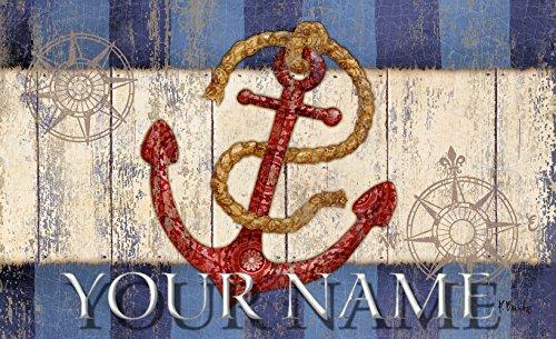 Toland Coastal Nautical Anchor Maritime Your Name Personalized Custom Standard Mat 18