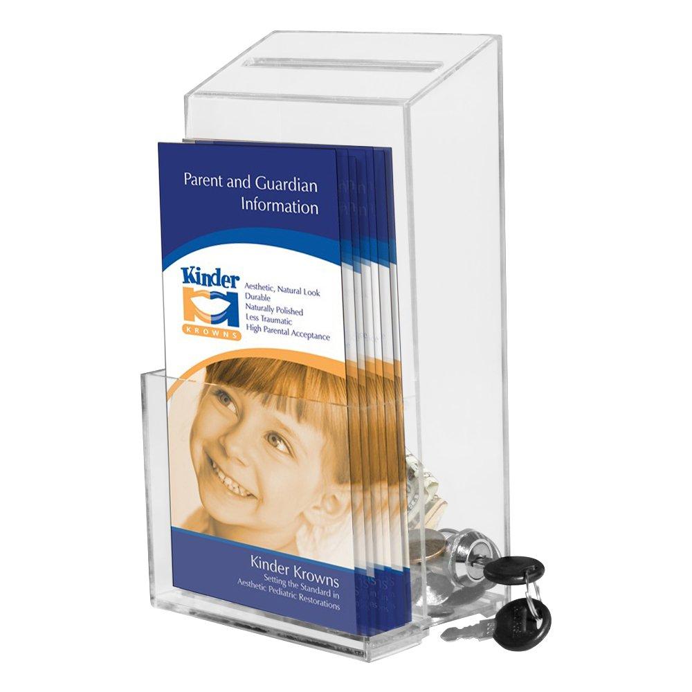 My Charity Boxes - Scatola porta suggerimenti e brochure, in acrilico di alta qualità, con serratura laterale e 2chiavi AC-BH-03