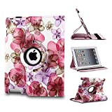 Revesun Pink 360 Rotating Lucky Flowers PU Leather Case Cover Stand for ipad mini 2 ipad mini2 iPad Mini 7.9'' Tablet