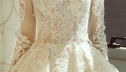 Amazon.com: ELEGENCE-Z Thin Long-Sleeved Wedding Dress Palace Dream White White Veil Dinner Dress,M: Sports & Outdoors