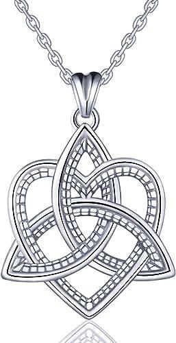 Silber Keltischer Schmuck für Frauen, 925 Sterling Silber Keltische Trinity Knoten Triquetra herzförmige Anhänger Halskette, Beste Geschenk für