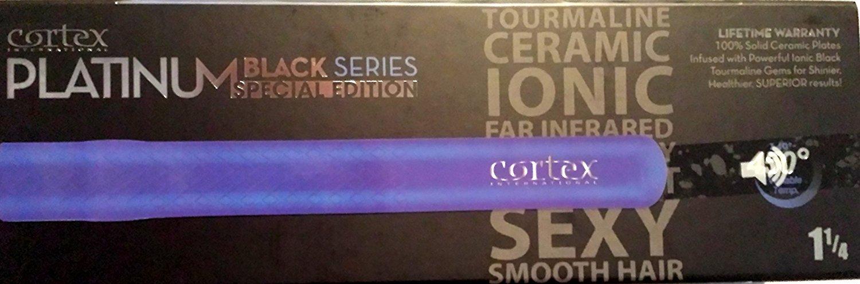 Cortex International Black Series Gemstone Infused Tourmaline Ceramic Plates 1.25 Inch Professional Flat Iron (Blue Metallic)