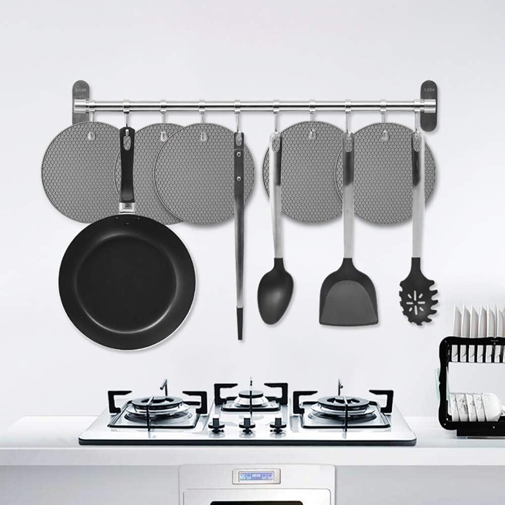 Opplei Topfuntersetzer Silikon Matte Untersetzer Pflegeleicht für Kochtopf Schüssel Auflaufformen 5 Stück 5 Nordic Grey