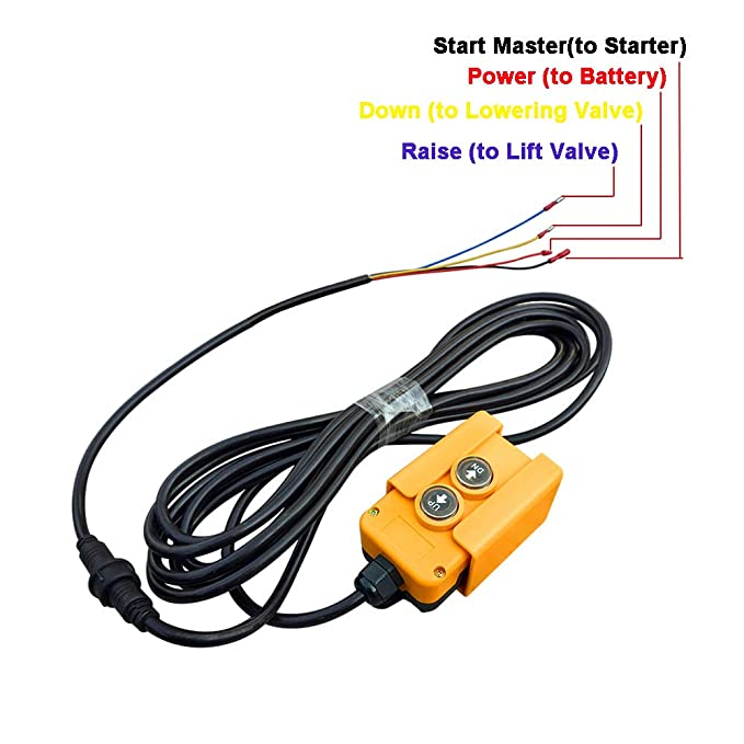 ECO-Worthy 4-Wire Double Acting Hydraulic Pumps Remote Control Switch for  Dump Trailer Pump