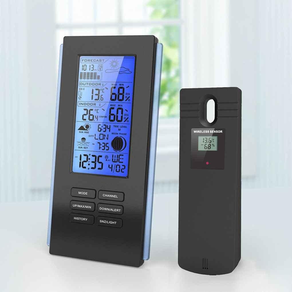 MUANI Rétro-éclairage sans Fil Thermo-hygromètre Pluie Verre Baromètre Station météorologique Horloge Humidometer Indicateur de température