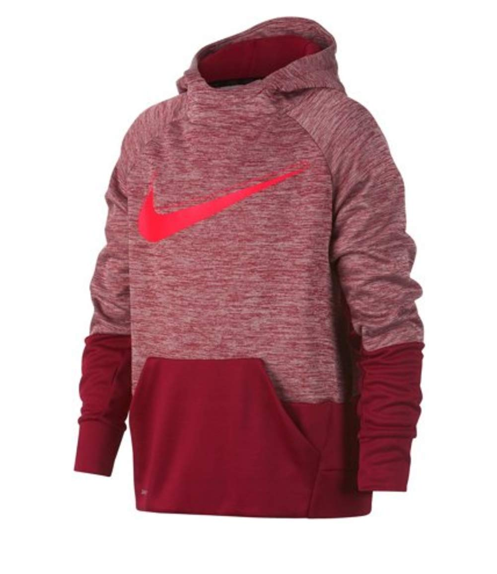NIKE Boys' Therma Graphic Training Pullover Hoodie Red Crush/Bright Crimson -LG