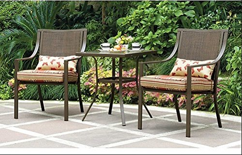 Mainstays Alexandra 3-piece Bistro Outdoor Patio Furniture Set Features Red Stripe Cushions with Butterflies. This Set Is a Perfect Addition to Any Deck, Patio, Porch or Garden (Butterfly Patio Set)