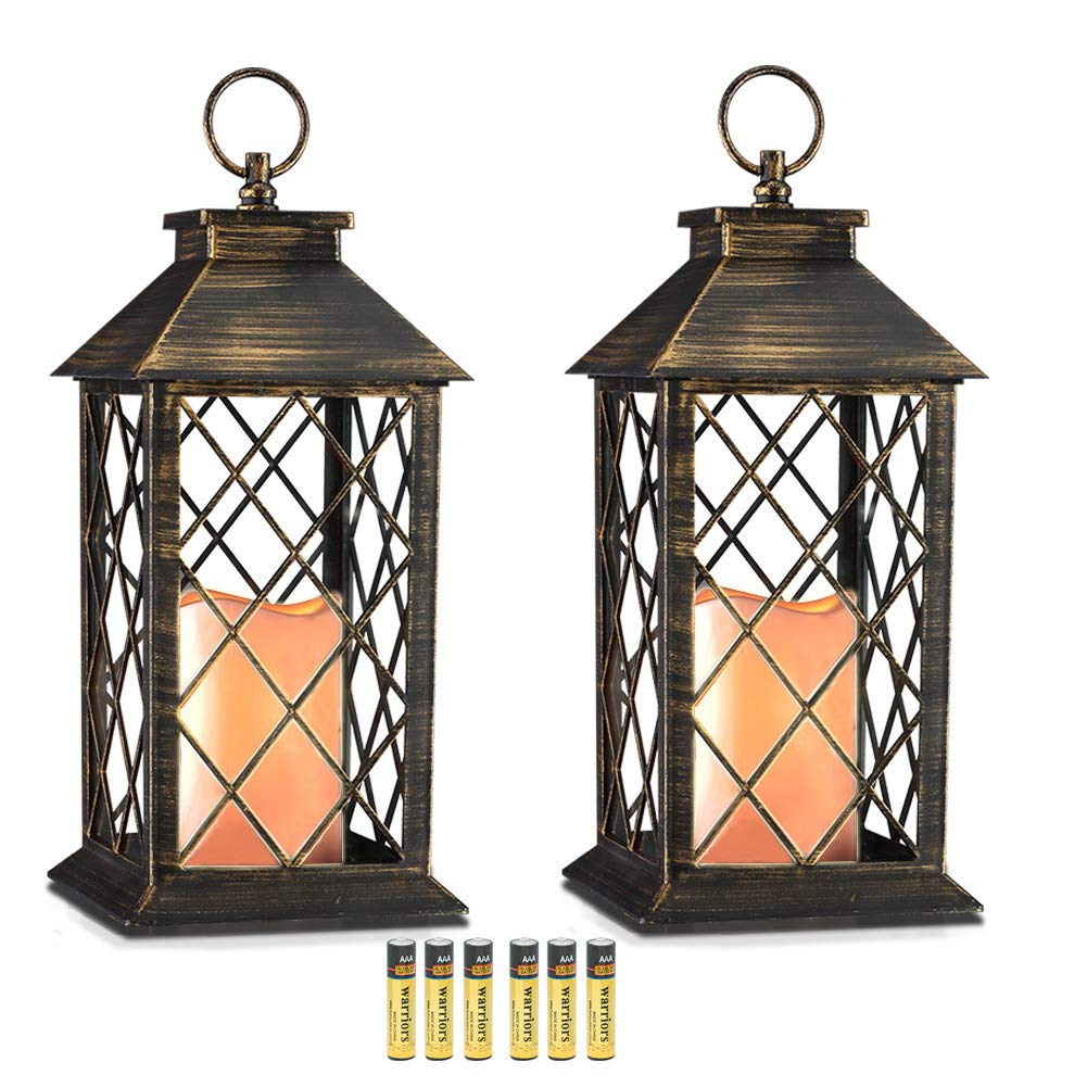 Evermore Light 14'' Golden Brushed Vintage Style Candle Lantern with 4 Hours Timer (Batteries Included) Hanging Lantern for Indoor&Outdoor Flameless candles Decorative-Candles-Lanterns (set of 2)