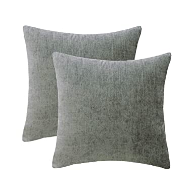 HWY 50 Cotton Linen Soft Comfortable Natural Soild Decorative Throw Pillows Covers Set Cushion Cases for Couch Sofa Living Room Grey Gray 18 x 18 Inches Pack of 2