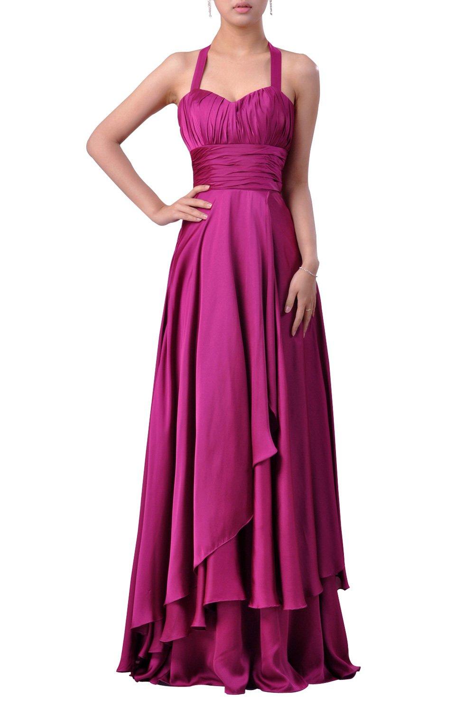 Stretch Satin Empire A-Line Halter Special Occasion Long Bridesmai Evening Dress, Color Fuschia,Customized
