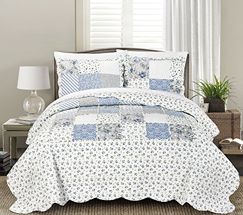 Blissful Living Luxury Ruffle Quilt Set Including Shams - Lightweight and Soft for all Seasons - Beatrice Blue - Full / Queen (Bed Sofs)