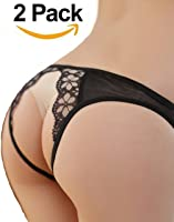 Sexy Crotchless Panties Elegant Lace Floral Open Underwear for Women