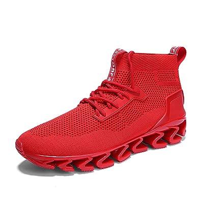 57a26e92e7b1 FOVSMO Springblade Sports Sneakers for Men Mesh Breathable Fashion Youth Big  Boys Trail Walking Shoes Black