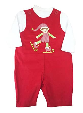 66aba557c Amazon.com  Petit Ami Baby Boys Christmas Elf Corduroy Overall Set ...