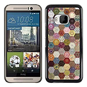 FECELL CITY // Duro Aluminio Pegatina PC Caso decorativo Funda Carcasa de Protección para HTC One M9 // Hexagonal Pattern Sewing Fabric