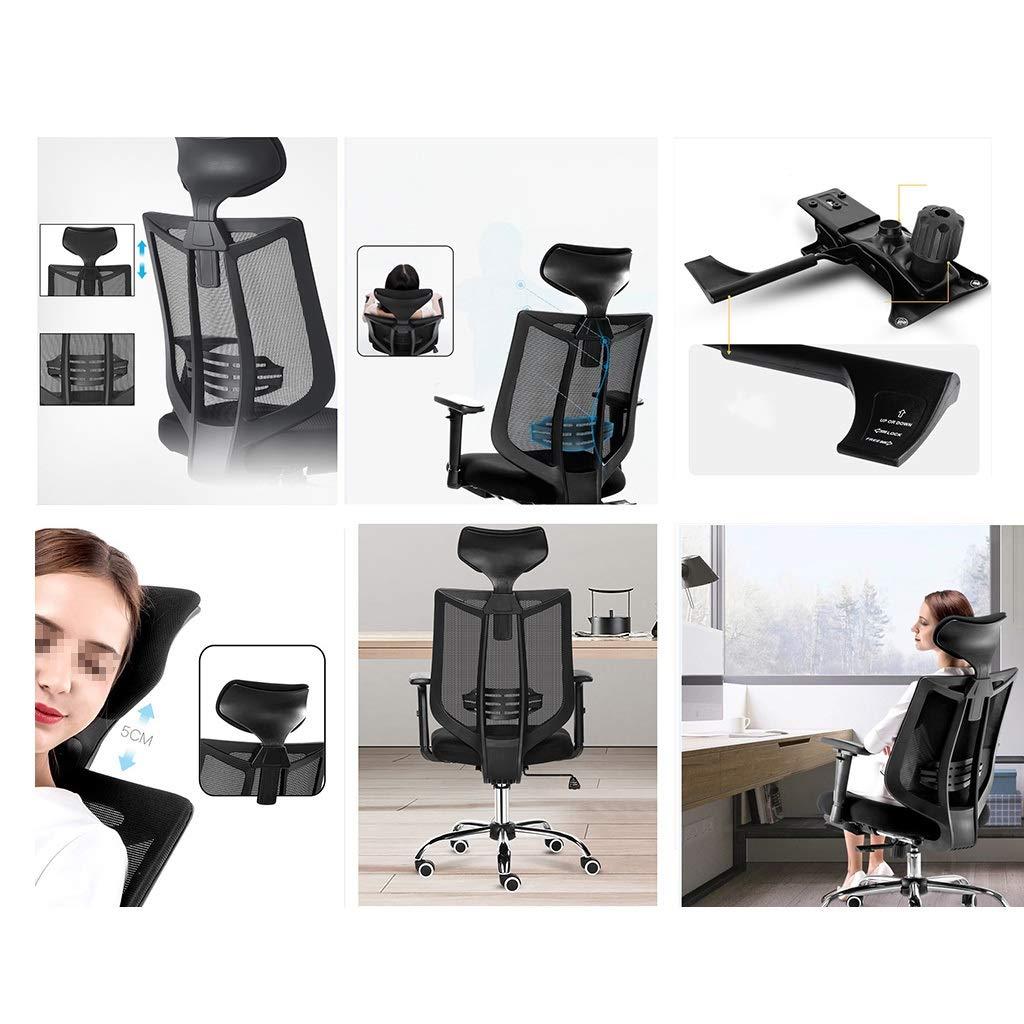 Kontorsstol, skrivbordsstol nät kontorsstol med stort nackstöd, kraftig justerbar datorstol hög rygg, svängbar uppgift stol fyra färger Grått Svart