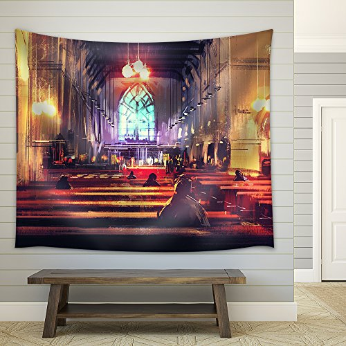 wall26 - Interior View of a Church,Illustration,Digital Painting - Fabric Wall Tapestry Home Decor - 68x80 inches by wall26