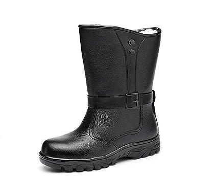 Adong Zapatos de Seguridad para Hombre de Alta Ayuda Cuero Acogedor Tobillo Botas de Acero de