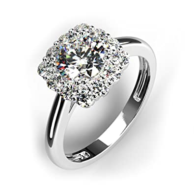 cf39d776e927e Decatur Diamonds 14K Solid Gold Engagment Rings for Women Round Solitaire  Cushion Halo