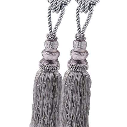 Chictie 2 Pack Curtain Tassel Tiebacks Crystal Beaded Fringe Ropes For  Drapery Window Door Decorations (