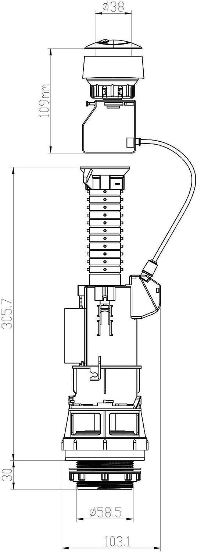 Kibath L334144 Descargador Universal de Cisterna CyC con Doble pulsador Media Carga Blanco Llenado Regulable