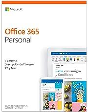 Microsoft Office 365 Personal - Software para PC y Mac, 1 Usario, Suscripción 1 Año