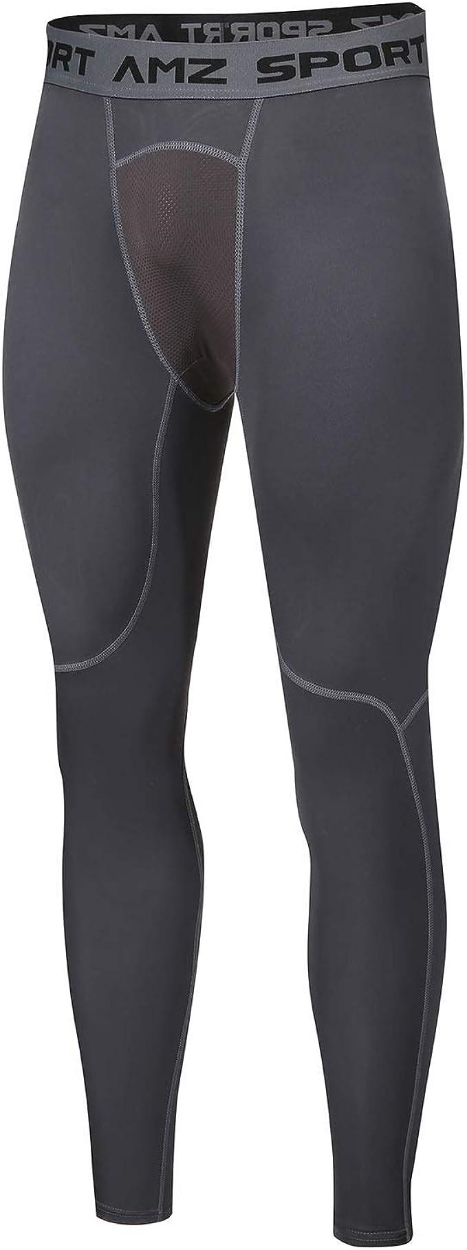 AMZSPORT Pantaloni Compressione Uomo Leggings Sportivi Traspirante Collant da Corsa Calzamaglie da Palestra