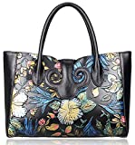 Pijushi Ladies Embossed Floral Handbags Leather Tote Handle Shoulder Handbags 91776 (Black Floral)
