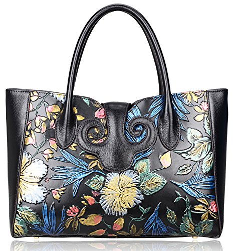 Pijushi Ladies Embossed Floral Handbags Leather Tote Handle Shoulder Handbags 91776 (Black Floral) by PIJUSHI