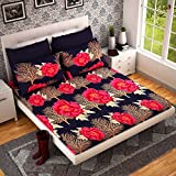 Teyja Collections Pearl Collection Vibrant and Black Color Poly Cotton Double Bed Sheet with Two Pillow Covers for Your Bed Room with Full Size and Comfort