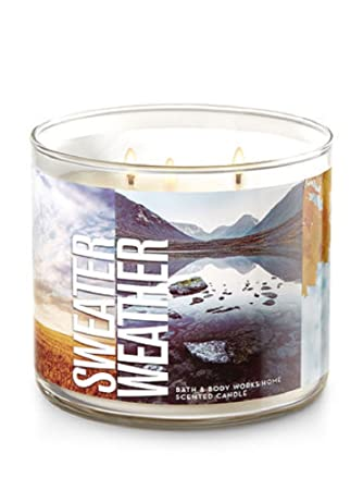 Amazoncom Bath Body Works 3 Wick Candle In Sweater Weather Home