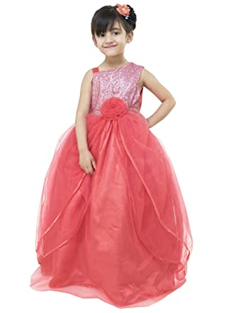 cc3e9612d369 Samsara Couture Coral Colour Girls Party Ball Gown and Gown for Kids for 1  Year