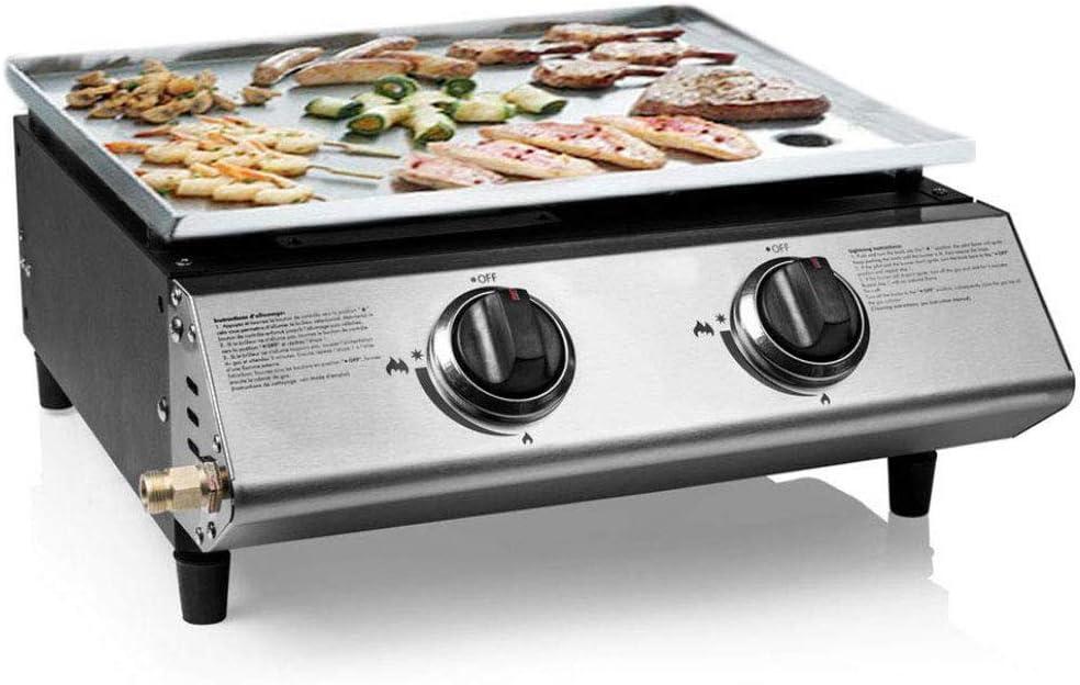 Eurotel ® Gas Plancha - Acero inoxidable - 6.3 KW - 48 x 45 x 19 cm